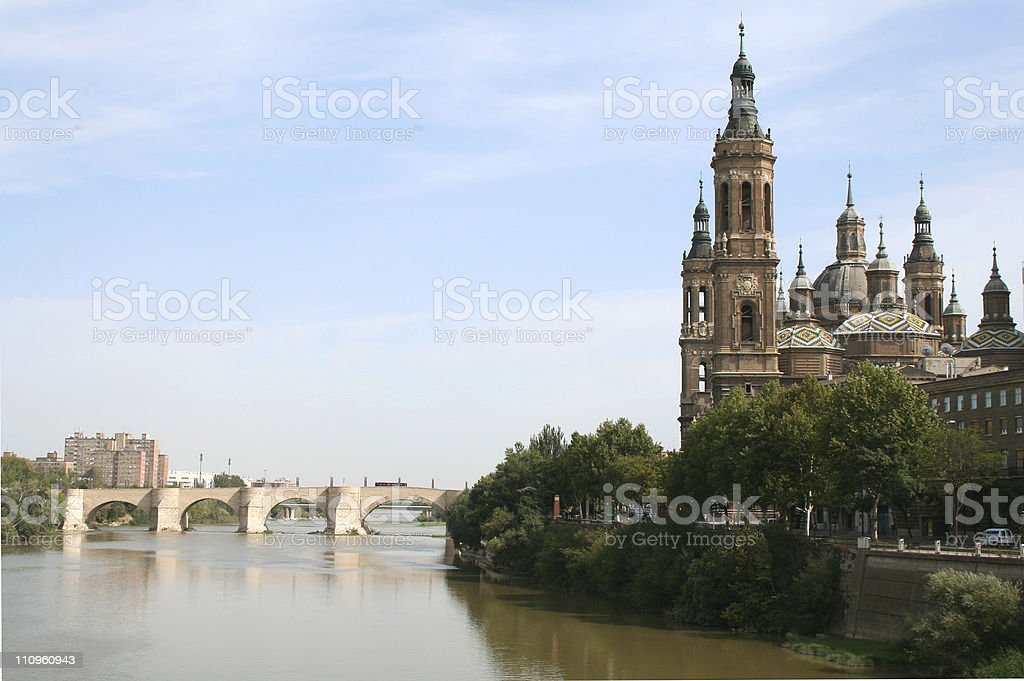 The Pilar Basilica. Zaragoza, Spain. stock photo