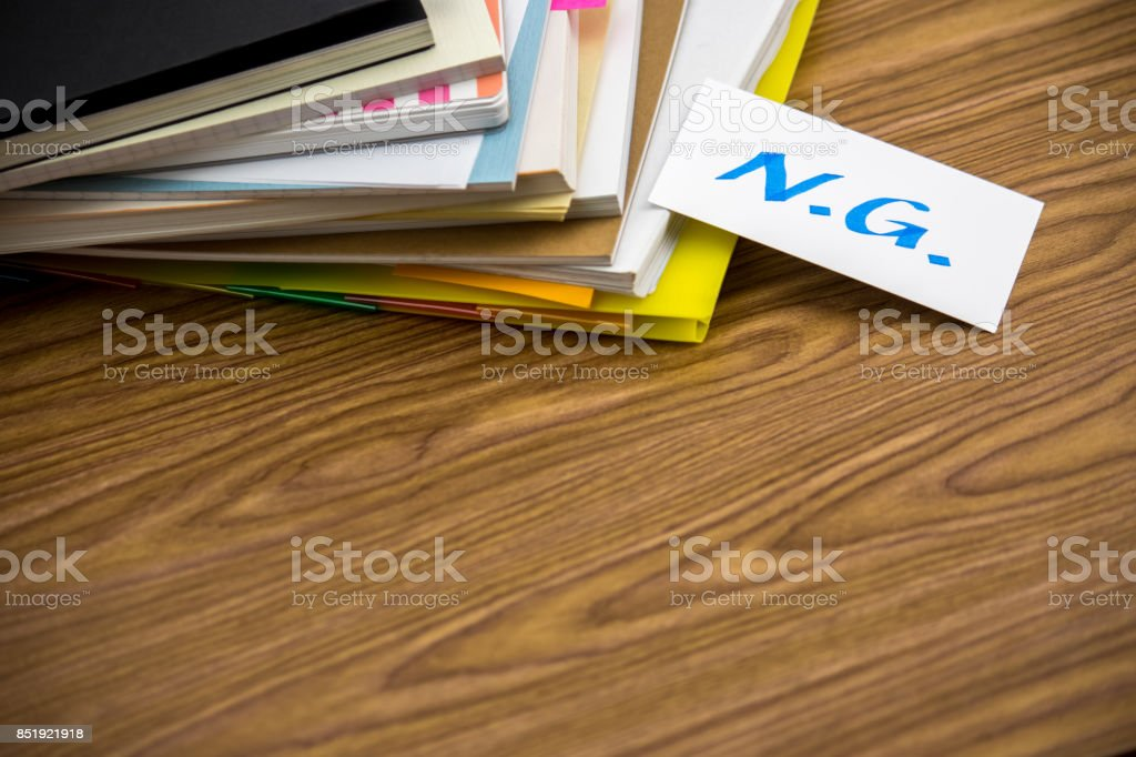 NG; The Pile of Business Documents on the Desk stock photo