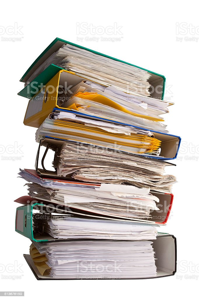 The pile of file binder with papers stock photo