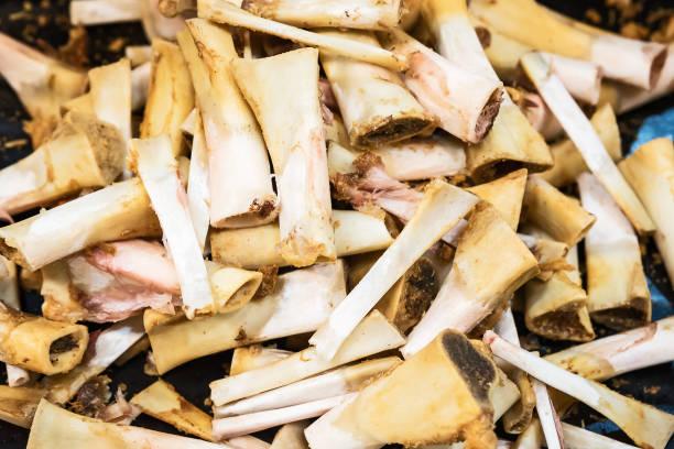 The pile of pork bone stock photo