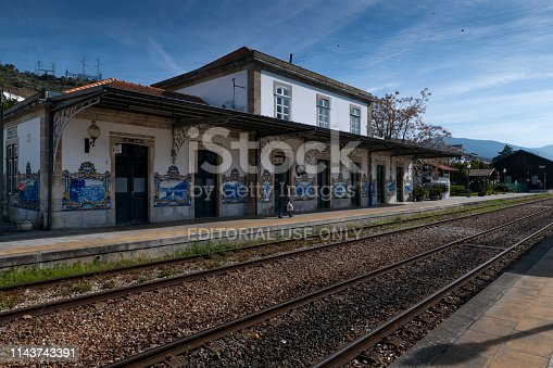 Lisbon, Portugal - March 9, 2019: The Pinhao train station in the village of Pinhao at the Douro Valley, Portugal; Concept for travel in Portugal