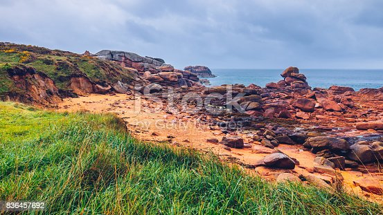istock The pink granite coast view, granit rocks in Tregastel (Perros-Guirec), Brittany (Bretagne), France 836457692
