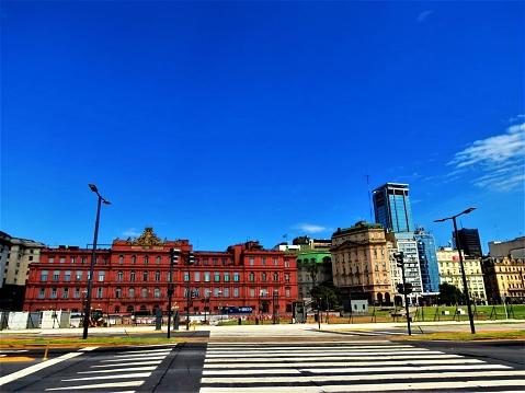 The Pink House Building (Casa Rosada) .Buenos Aires cityscape.