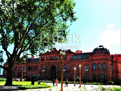 Buenos Aires, Argentina - November 10, 2019  The Pink House Building (Casa Rosada),presidential Palace and the Government House at the Plaza de Mayo Square.