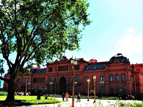 The Pink House Building (Casa Rosada) in Buenos Aires city .