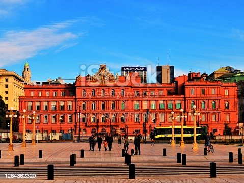 Buenos Aires, Argentina - June 02 , 2019  The Pink House Building (Casa Rosada),presidential Palace and the Government House in the capital city.
