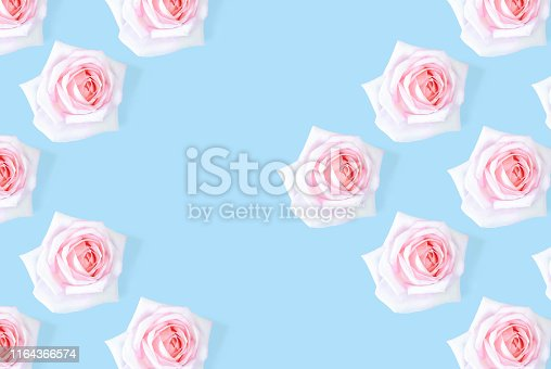 1147995495 istock photo The pink rose pattern is framed against a blue background. 1164366574