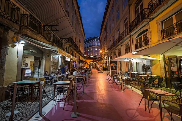 The Pink Street, Lisbon, Portugal stock photo