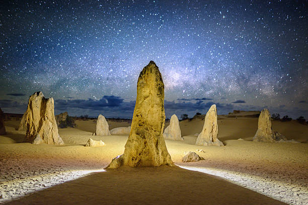 The Pinnacles at night stock photo