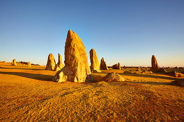 the pinnacles western australia outback - bergspits stockfoto's en -beelden