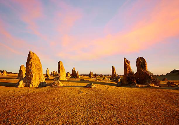 The Pinnacles Western Australia Sunset Composite stock photo