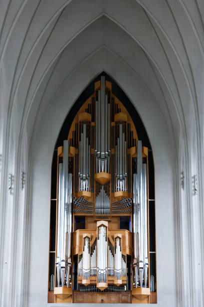 The Pipe Organ at the Hallgrímskirkja in Reykjavik, Iceland The pipe organ at the Hallgrímskirkja (Church of Hallgrímur) in Reykjavik the capital of Iceland. Hallgrímskirkja church stock pictures, royalty-free photos & images