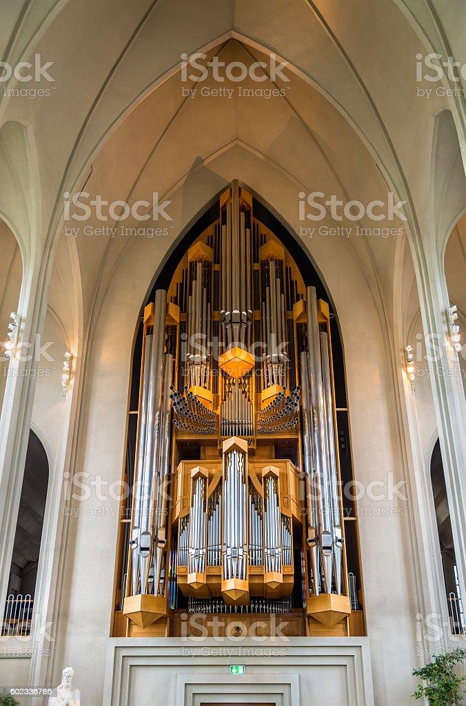 The pipe organ of Hallgrimskirkja church in Reykjavik stock photo