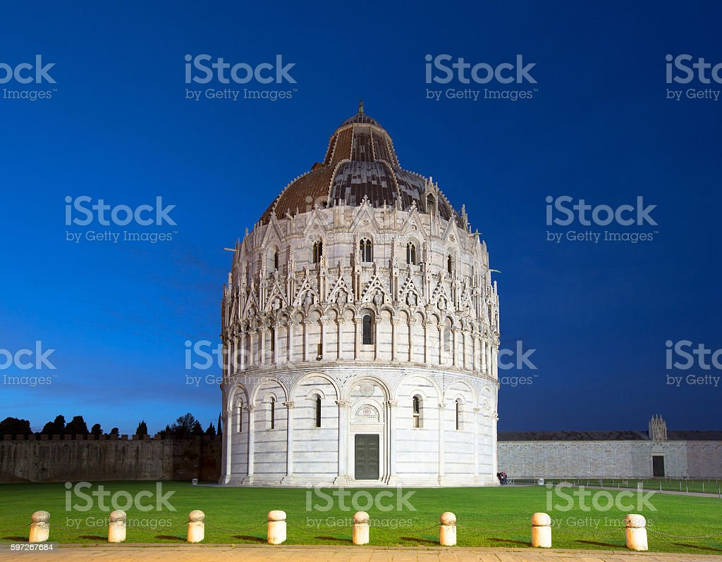 The Pisa Baptistry at night royalty-free stock photo