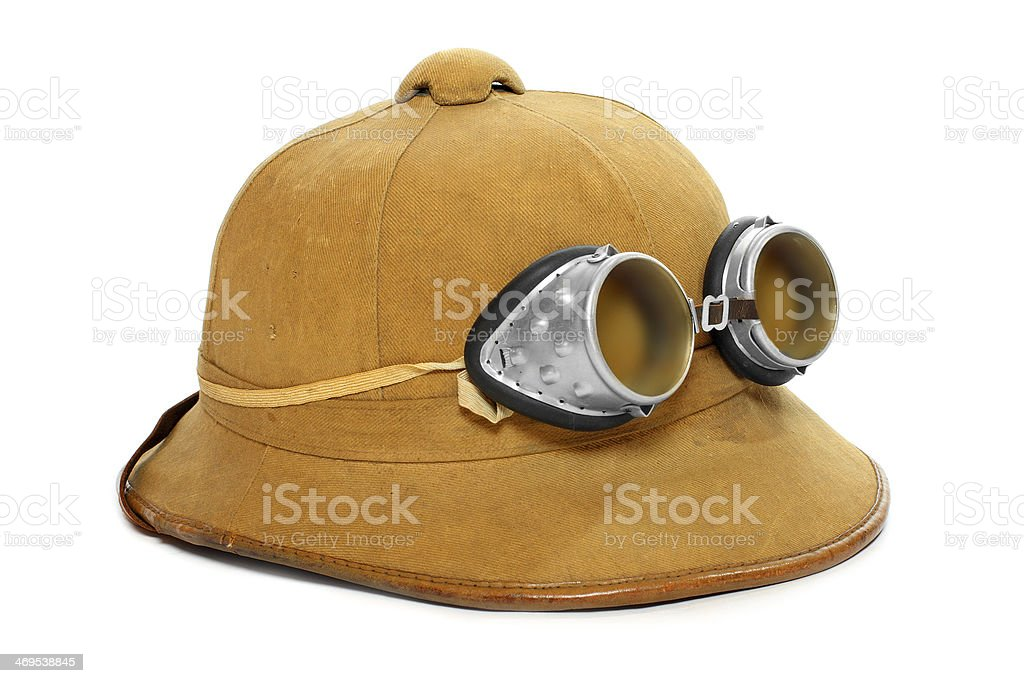 The Pith Helmet with Goggles. stock photo