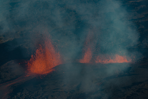 The Piton De La Fournaise Volcano During An Eruption In Reunion Island Stock Photo - Download Image Now