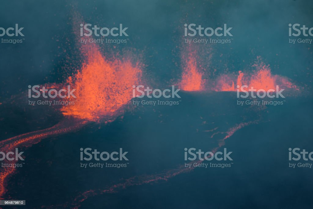 The Piton de la Fournaise volcano during an eruption in Reunion Island royalty-free stock photo