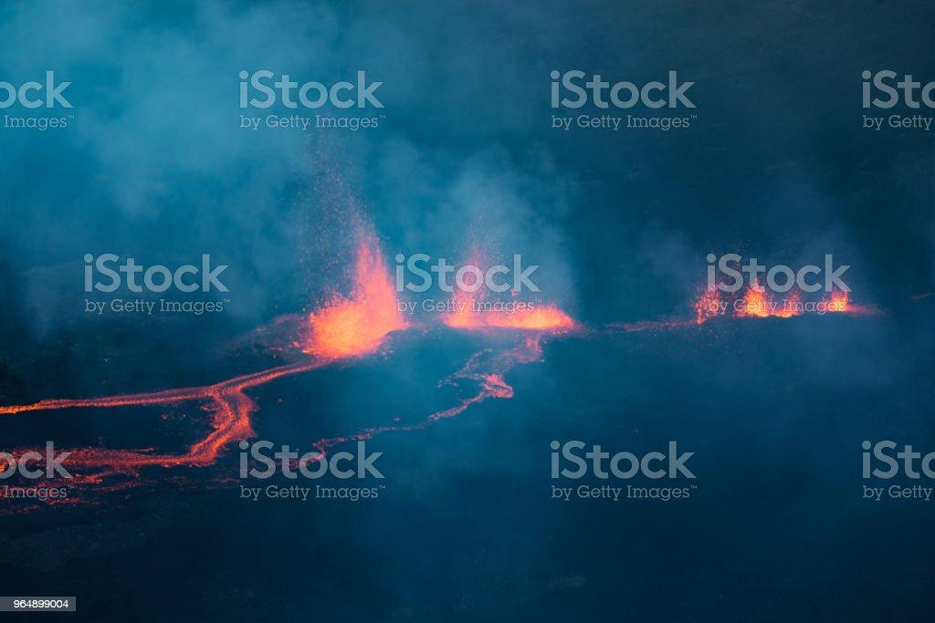 冰錐 Fournaise 火山在團圓島噴發中的發生 - 免版稅光圖庫照片
