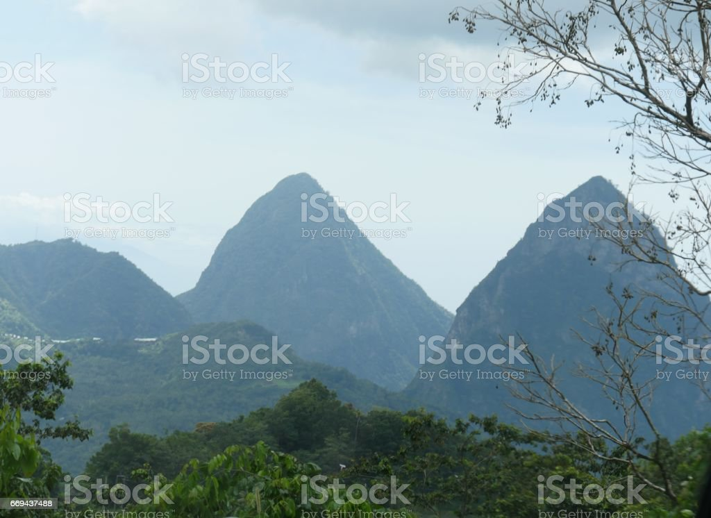 The Pitons from a distance, Soufrière, St. Lucia stock photo