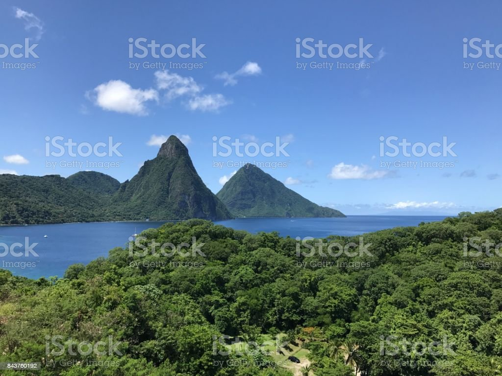 The Pitons in St. Lucia stock photo