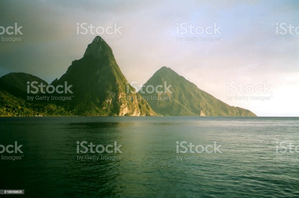 The Pitons of Saint Lucia at sunset, Windward Islands stock photo