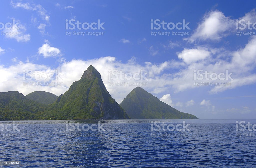 The Pitons Of St. Lucia - Royalty-free Blue Stock Photo