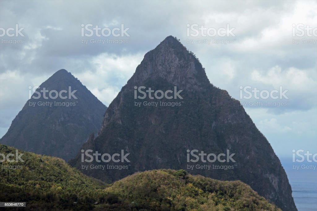 The Pitons of St Lucia stock photo