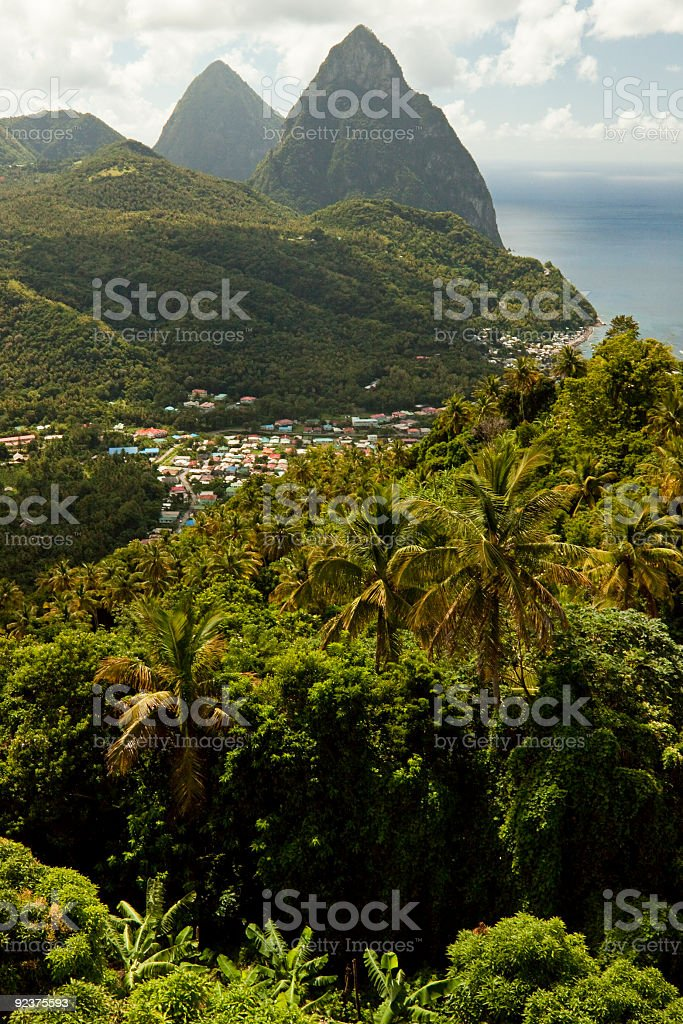 The Pitons St. Lucia's Mountains royalty-free stock photo