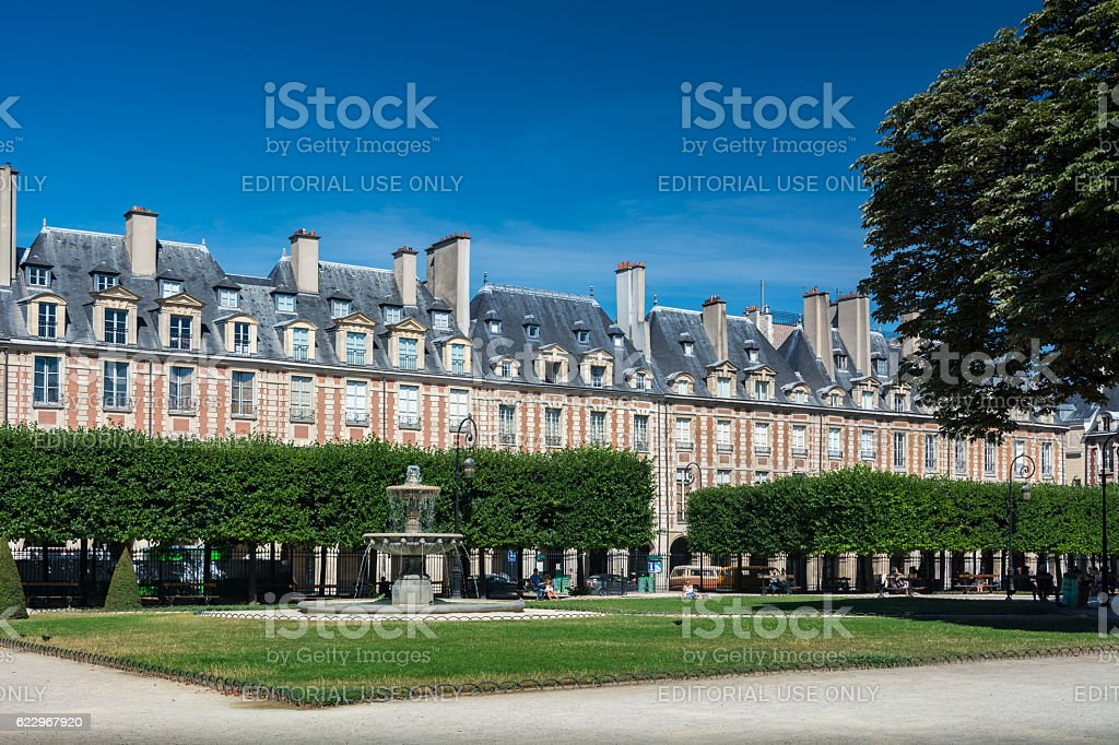 The Place des Vosges in Paris stock photo