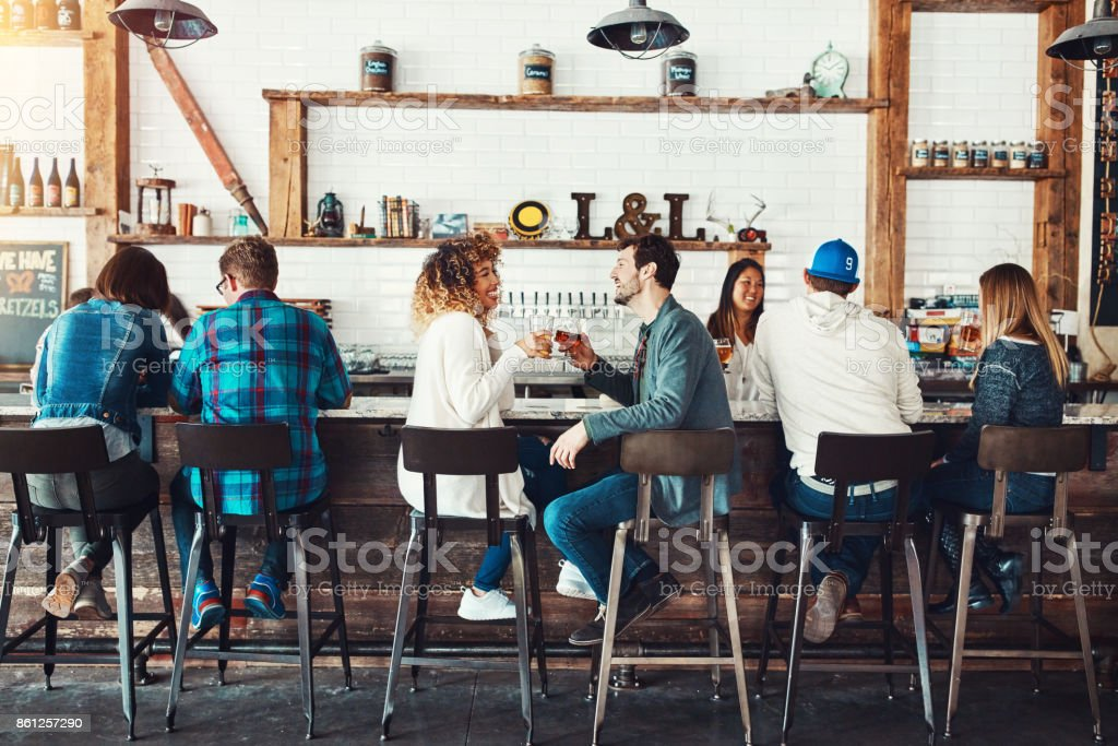 The place to be with the people to be with stock photo