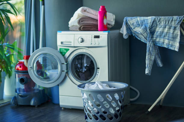 the place where linen gets cleaned - laundry laundry room stock pictures, royalty-free photos & images