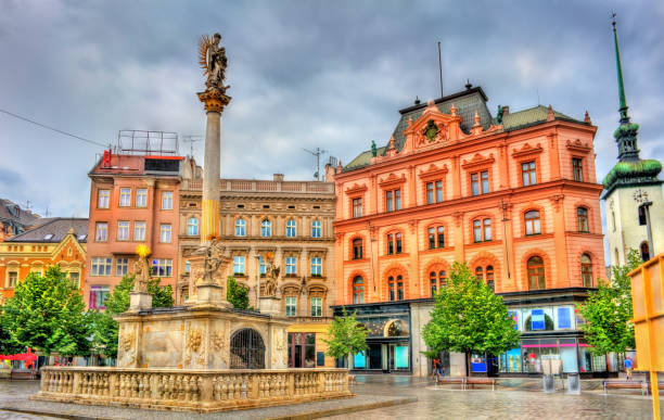 The Plague Column on Freedom Square in Brno, Czech Republic The Plague Column on Freedom Square in Brno - Moravia, Czech Republic brno stock pictures, royalty-free photos & images