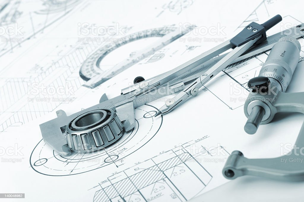 The plan industrial details, a protractor, caliper, divider and royalty-free stock photo