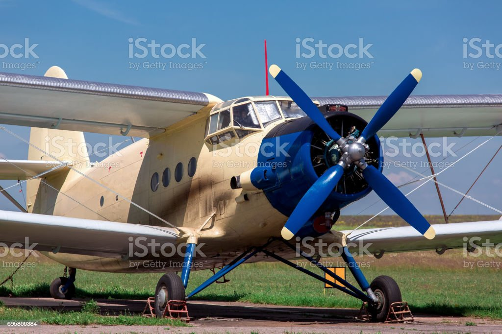 The plane, AN-2 agricultural aeroplane. stock photo
