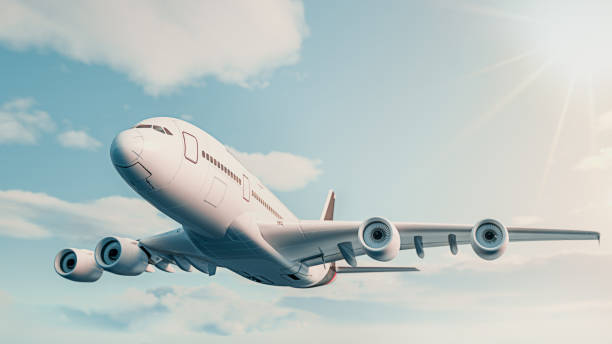 The plane fly in the sky. stock photo