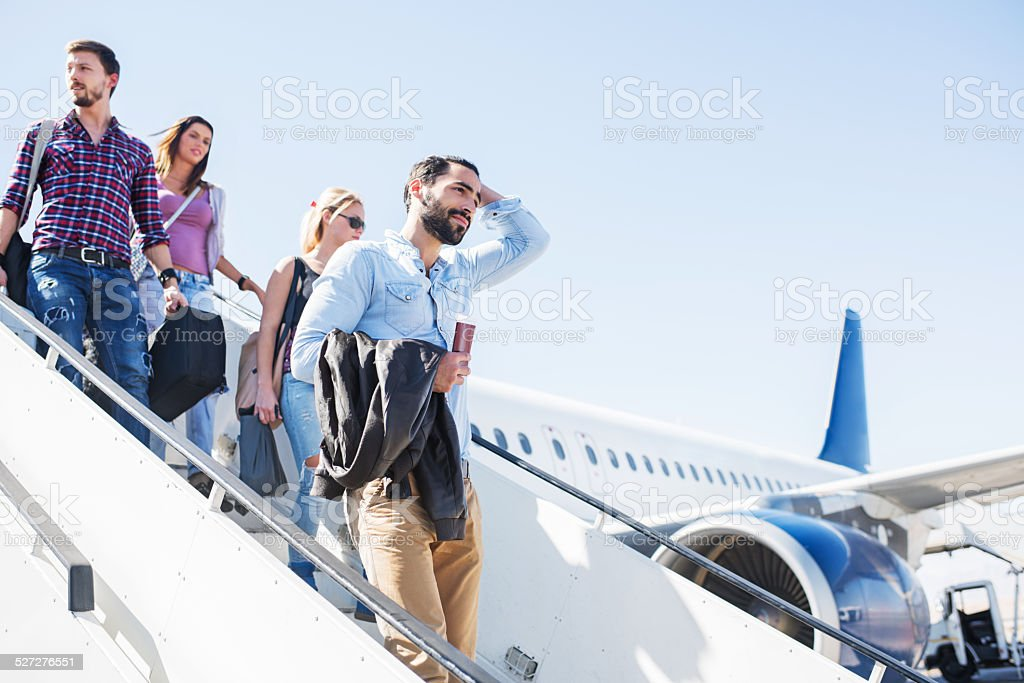 The plane has landed! stock photo