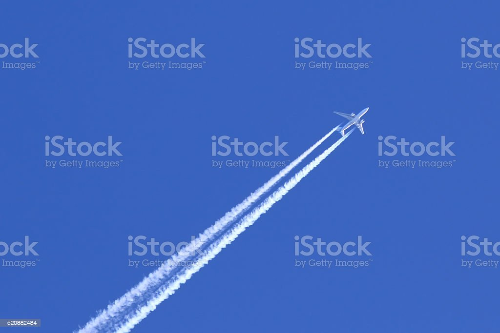 The plane in flight stock photo