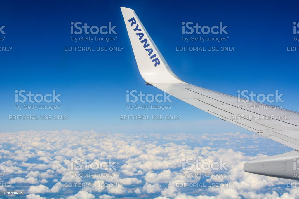 The plane of low-cost airline Ryanair is arriving to Kastrup airport in Copenhagen stock photo