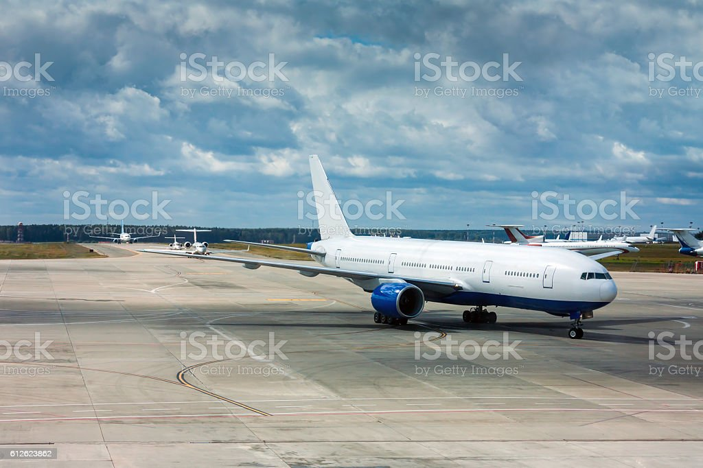 The planes are taxiing one after the other stock photo
