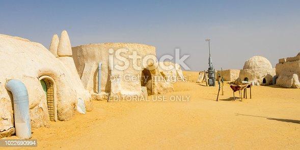 Old Star Wars set building in the Sahara desert near Naftah, Tunisia