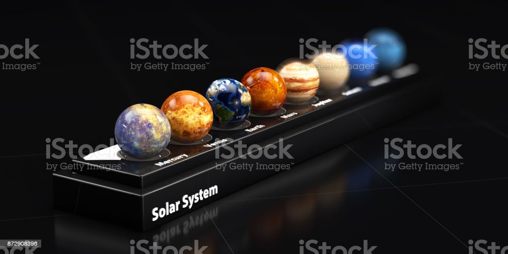The Planets Of Our Solar System Blured Background D Illustration - Solar system map 3d