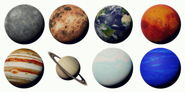 the planets of the solar system isolated on white background artistic depiction of the solar system planets planet space stock pictures, royalty-free photos & images
