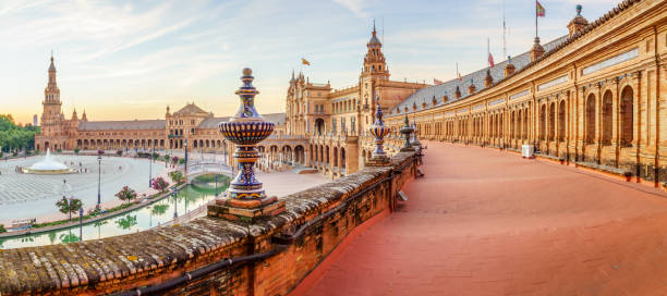 The Plaza Espana Spain Square (Plaza de Espana), Seville, Spain, built on 1928, it is one example of the Regionalism Architecture mixing Renaissance and Moorish styles. seville stock pictures, royalty-free photos & images
