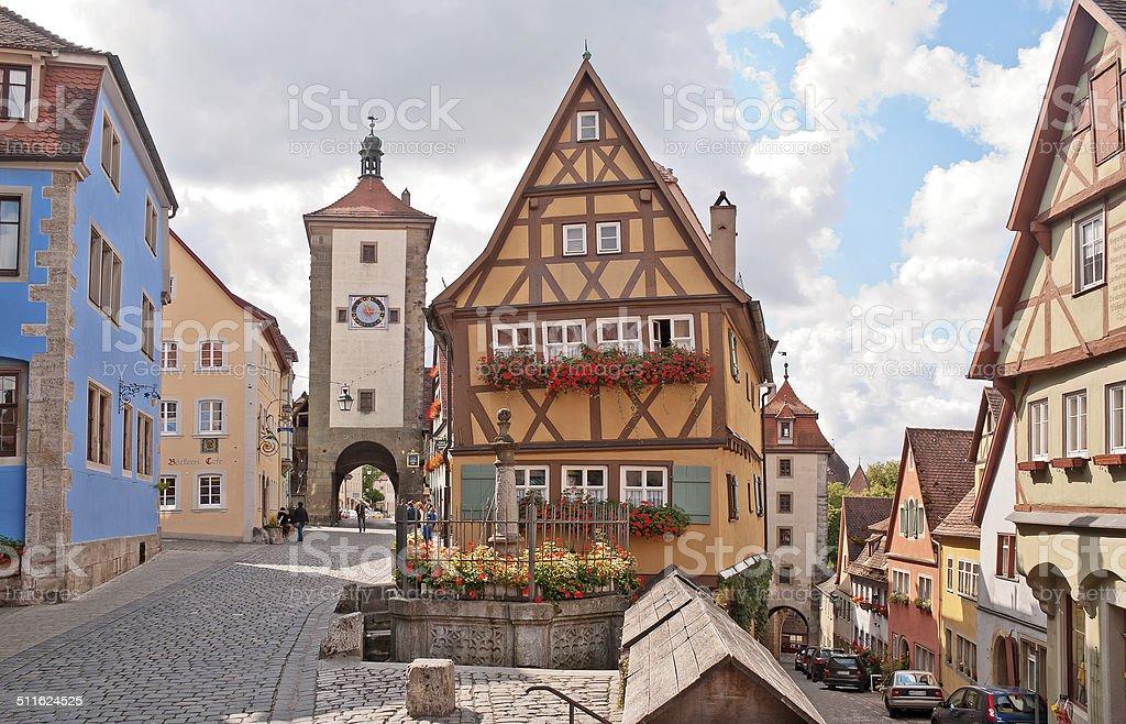 Das Plönlein in Rothenburg ob der Tauber stock photo