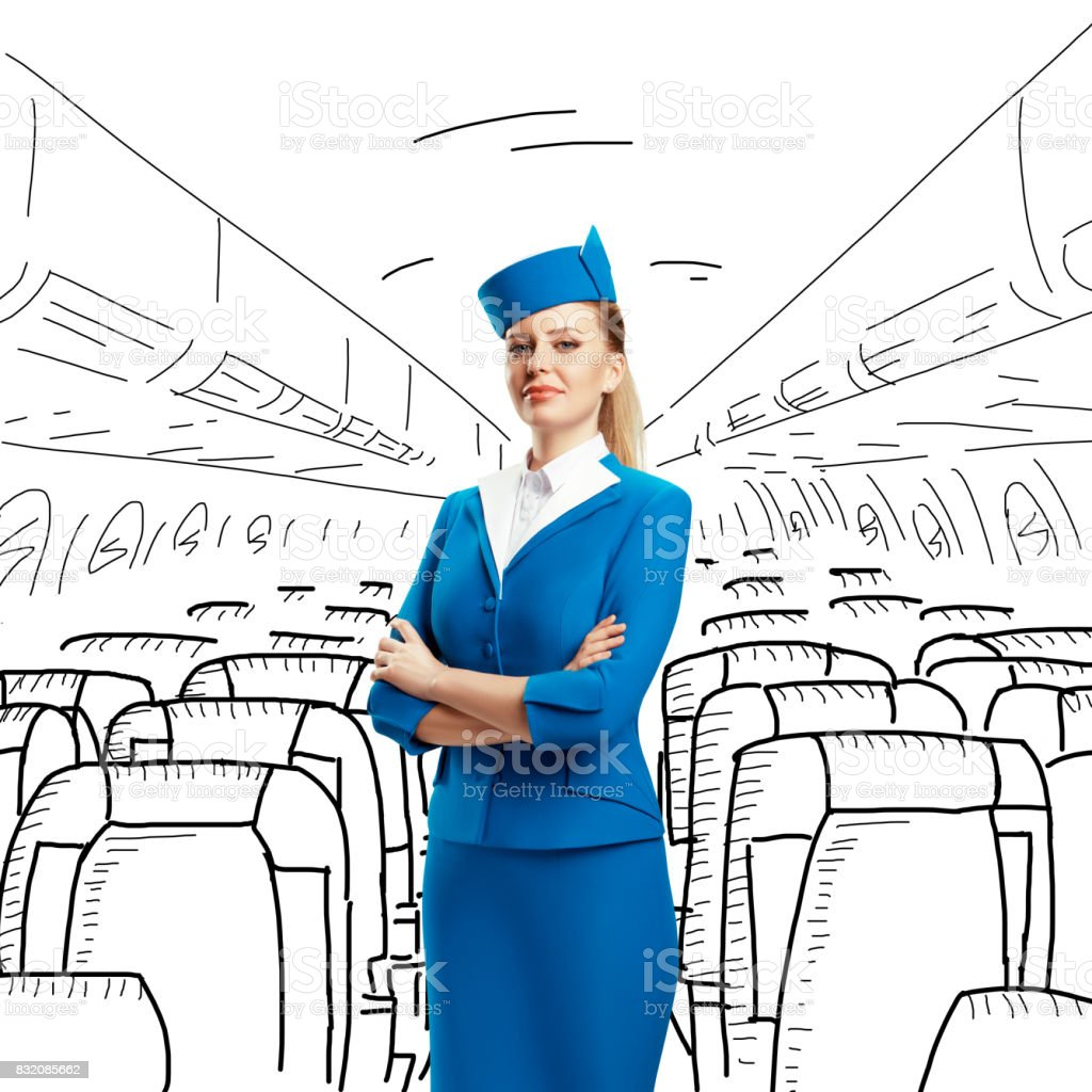 The plot with the stewardess. Different situations. stock photo