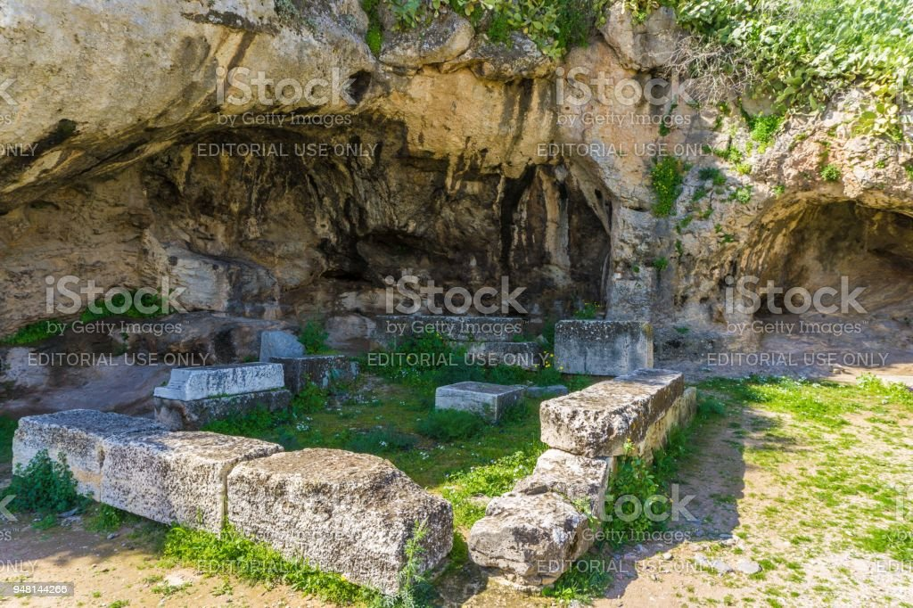 The Plutonion in archaeological site of Eleusis (Eleusina). Sanctuary of Pluto (Hades), god of the Underworld, who abducted Persephone. stock photo