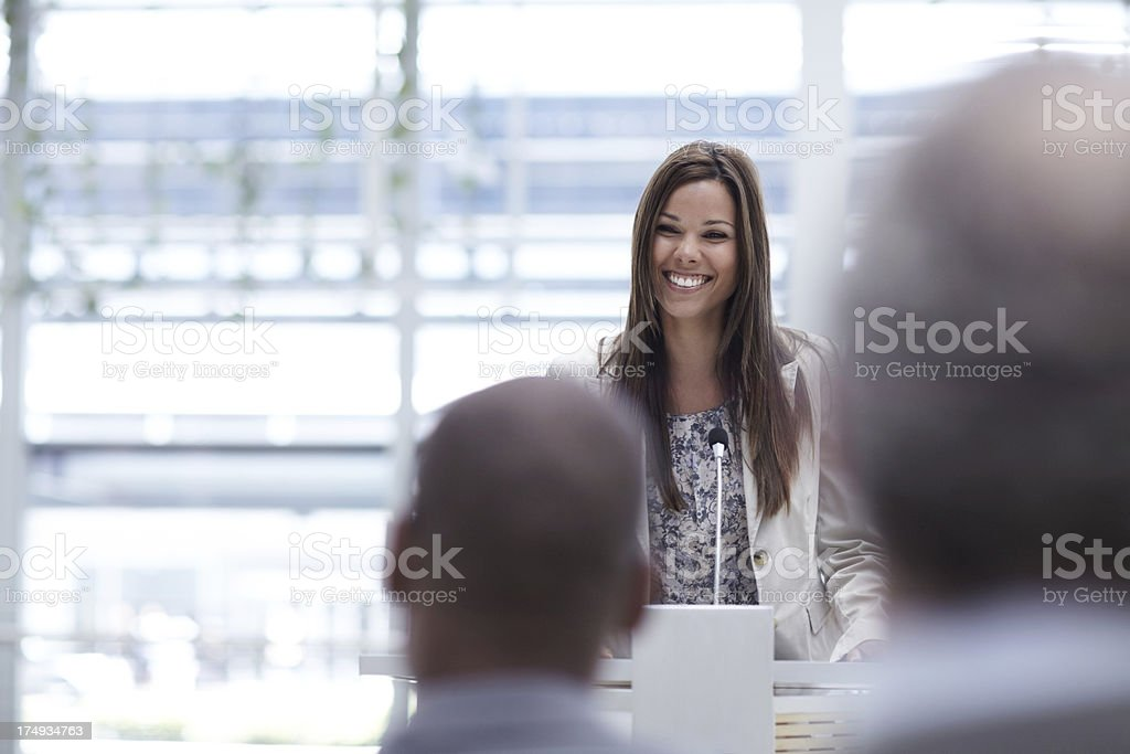 The podium is where she excels stock photo