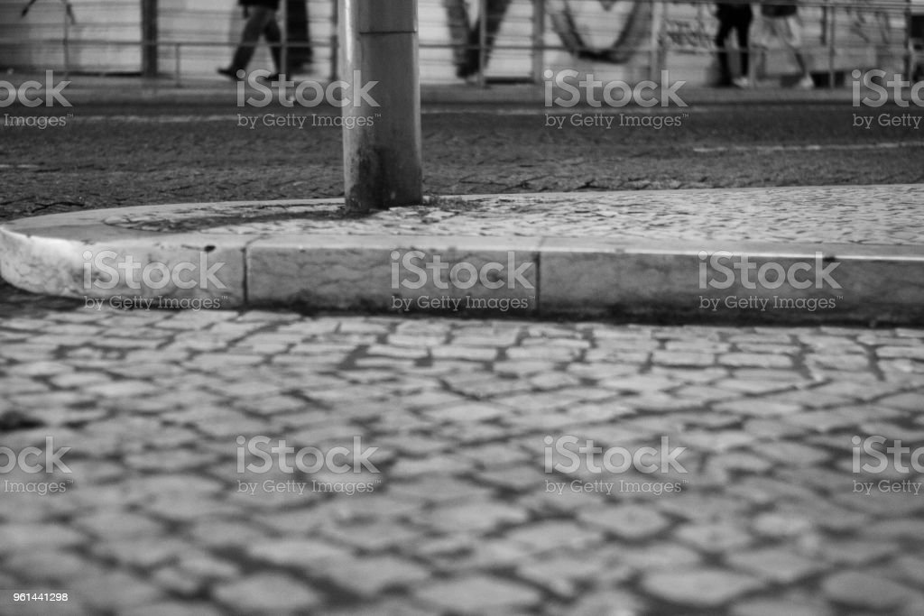 the point of view of a street tramp stock photo
