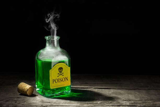 독은 유리 유리병에 녹색 액체 이다. 두개골과 뼈 라벨에 물는 치명적인 약 텍스트에 대 한 공간을 복사 합니다. 3 차원 렌더링 - 독성 물질 뉴스 사진 이미지