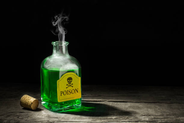 the poison is a green liquid in a glass vial. a deadly potion with a skull and bones on the label. copy space for text. 3d rendering - poisonous stock pictures, royalty-free photos & images